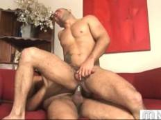Cute dude with nice relief body enjoys when rides dick.