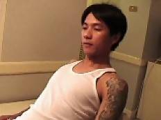 Hot Asian boy with an old white guy in a video