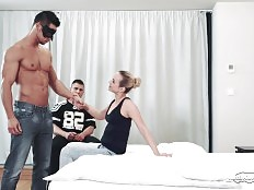 Vinna told her husband Nyko about the hot sex she had yesterday with a young jock named Ennio. Since he did not believe her, she decided to invite the gorgeous muscled dude over, without telling him that her husband would like to watch. As soon as Ennio f